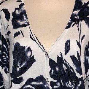 Bling Flower Print Sweater